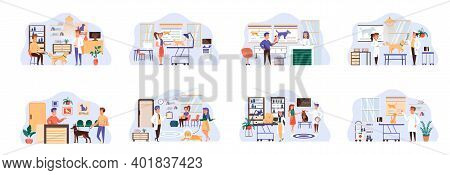 Veterinary Clinic Bundle Of Scenes With Flat People Characters. Veterinarian Examining Dog And Cat I