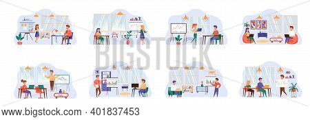 Office Manager Bundle Of Scenes With People Characters. Colegues Comunication And Cooperation At Wor