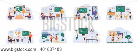 School Learning Bundle Of Scenes With Flat People Characters. Pupils And Teacher In Classroom Concep