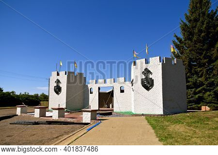 Regent, North Dakota, August 16, 2020:  The Enchanted Castle Of Regent Is Located At The End Of The