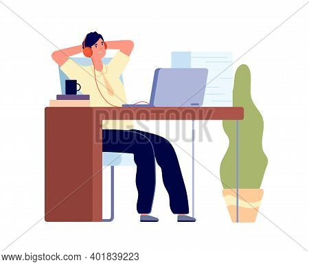 Lazy Manager. Business Concept, Man Procrastination At Work. Busy Male Listen Music, Tired Bored Guy