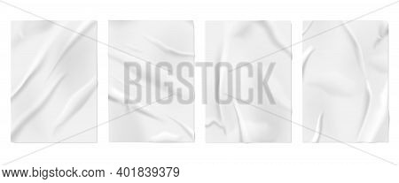 Glued Paper. Wall Posters, Blank Wrinkled Surface Mockup. White Ripped Wet Effect With Wrinkles, Cre