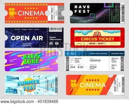 Entertainment Tickets. Concert Cinema Event Flyers, Circus Fest Invitation Cards Template. Boarding