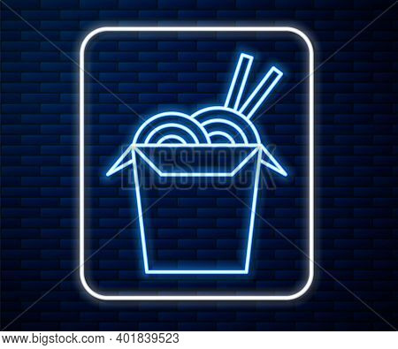 Glowing Neon Line Asian Noodles In Paper Box And Chopsticks Icon Isolated On Brick Wall Background.