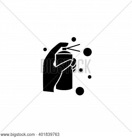 Cleaning Spray Glyph Icon. Detergent, Cleanser, Sanitizer Filled Flat Sign. Housekeeper Hand With Bo