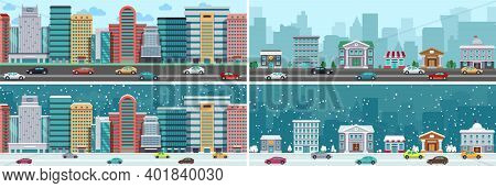 City Panorama. Downtown, Suburb Town Road. Cute Buildings Diverse Seasons. Snowy Time, Winter And Su