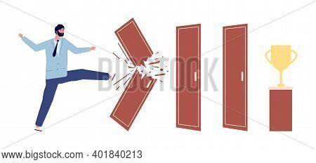 Man Broken Door. Way To Success Metaphor, Work Progress Or Overcoming Obstacles. Businessman And Tro