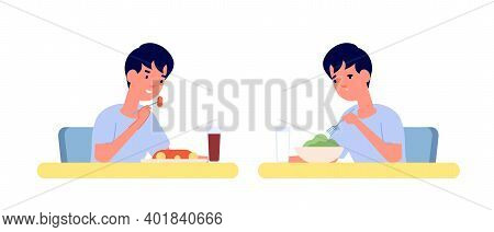 Boy Eating. Home Breakfast, Healthy Vs Unhealthy Food. Toddler At Table, Vitamine Or Fast Food Lunch
