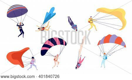 Skydiving Characters. Skydiver, Free Jumping And Sky Flying. Extreme Sports, People In Suits Fall Wi