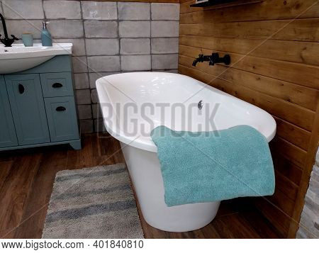 Interior Of Bathroom With Sink Basin Faucet. Open Chrome Faucet Washbasin. Modern Design Of Bathroom