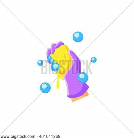 Wet Cleaning Flat Icon. Wiping With Cloth. Housekeeper Hand In Glove Squeezes A Rag Pictogram. House