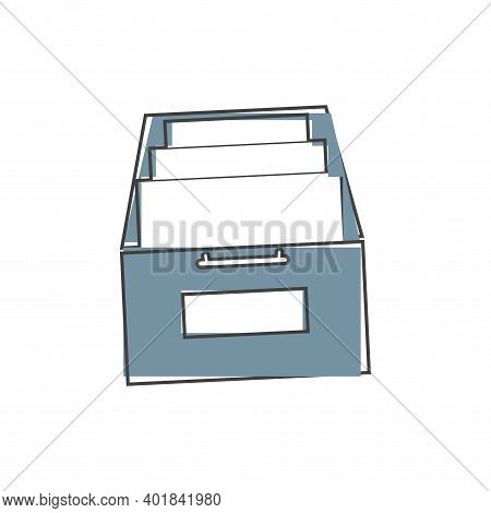 Vector Icon Archived Documents, Storing Documents In Archives On Cartoon Style On White Isolated Bac