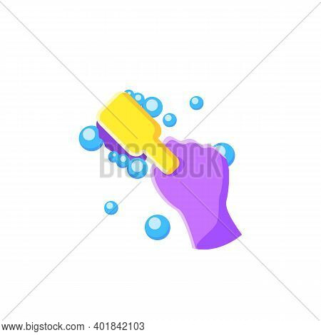 Cleaning Brush Flat Icon. Wiping, Brushing. Housekeeper Hand With Square Brush Pictogam. Wet Cleanin