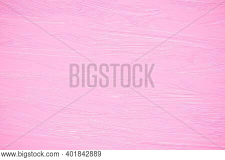 Pink Oil Paint On A Wall, Rough Brush Strokes On Canvas, Abstract Paper Backgrounds. Valentines Day