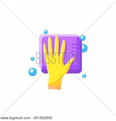 Cleaning Sponge Flat Icon. Wiping With Sponge. Housekeeper Hand In Glove Pictogram. Wet Cleaning. Ho