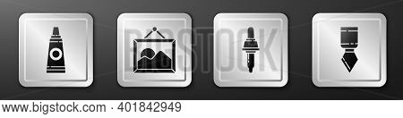 Set Tube With Paint Palette, Picture Landscape, Pipette And Palette Knife Icon. Silver Square Button
