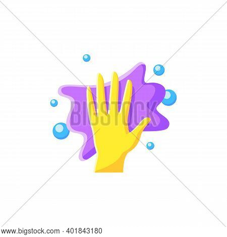 Cleaning Napkin Flat Icon. Wiping With Cloth. Housekeeper Hand With Rag Pictogram. Wet Cleaning. Hou