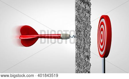 Obstacle And Adversity As A Dart Facing A Wall And Overcoming Obstacles As Concrete Blocking A Targe