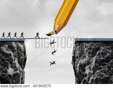 Management Failure And Broken Drawing Of A Bridge And Facing Adversity Business Concept As A Group O