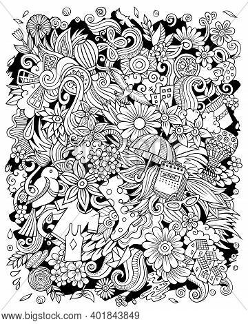 Spring Hand Drawn Raster Doodles Illustration. Nature Poster Design. Seasonal Elements And Objects C