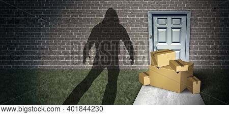 Package Theft And Porch Pirate Thief Stealing Packages From A Home Delivered To A Front Door As A Bu