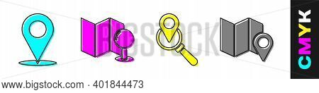 Set Location, Folded Map With Push Pin, Search Location And Folded Map With Location Marker Icon. Ve