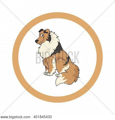 Cute Cartoon Scootish Collie In Dotty Circle Dog Vector Clipart. Pedigree Kennel Doggie Breed For Ke
