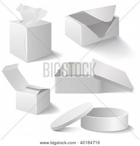 White Boxes Set Isolated On White