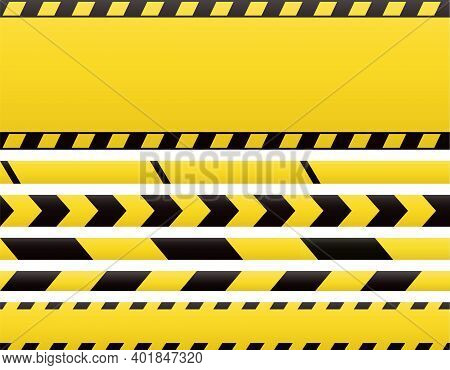 Seamless Barricade Tapes And Web Banners. Barrier Line And Blank Construction Border Tape