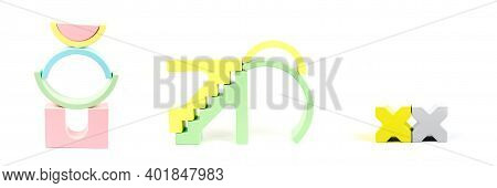 Banner With Wooden Figures. Children's Wooden Construction Kit. Figures From A Multi-colored Wooden