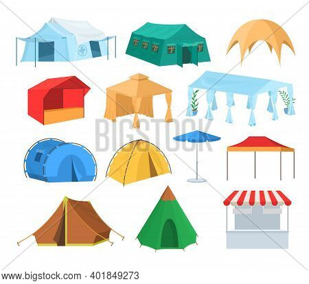 Different Types Of Tents, Flat Vector Illustration. Tourist, Market Store, Cafe, Festival Event, She