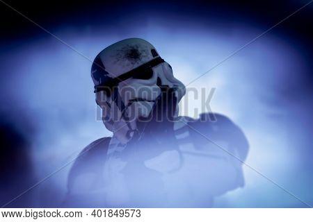 JAN 1 2021: close up of Star Wars 501st (Vader's Fist) Stormtrooper Commander - Hasbro action figure