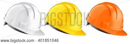 Set Of White, Yellow, Orange Construction Helmets. 3d Rendering Of Safety Hard Hats Isolated On A Wh