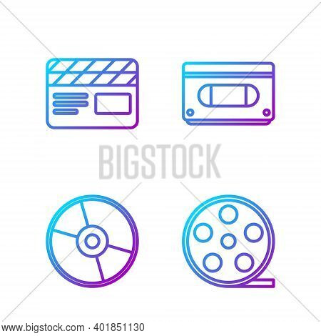 Set Line Film Reel, Cd Or Dvd Disk, Movie Clapper And Vhs Video Cassette Tape. Gradient Color Icons.