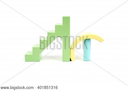Abstract Pattern With Wooden Figures. Children's Wooden Construction Kit. Yellow, Green And Blue Det