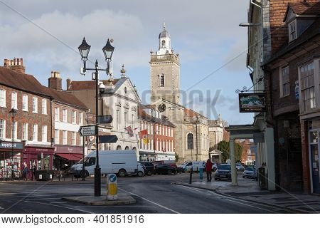 The Town Centre In Blandford Forum, West Street In The Uk, Taken On The 26th October 2020