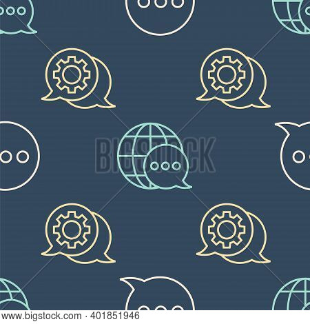 Set Line Speech Bubble Chat, Speech Bubble Chat And World Map Made From Speech Bubble On Seamless Pa