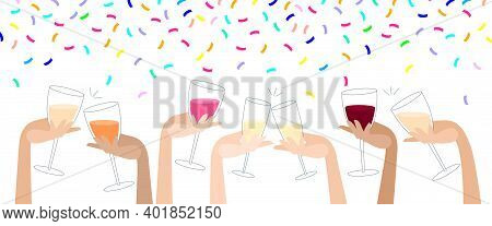 Clink Glasses With Wine And Confetti. Hen-party. Festive Party. Hand Holds A Glass With Alcoholic Dr