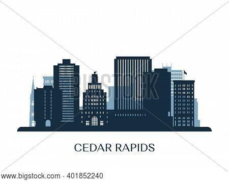 Cedar Rapids Skyline, Monochrome Silhouette. Vector Illustration.