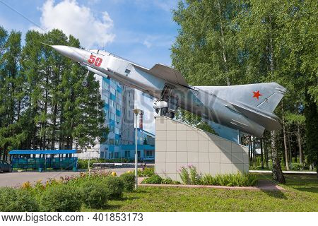 Gavrilov Yam, Russia - July15, 2019: The Aircraft-monument Mig-23mld Near The Machine-building Plant