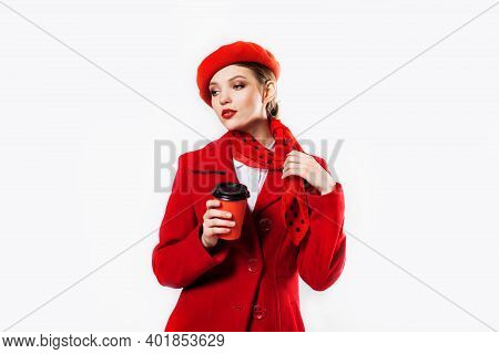 Young Beautiful Fashionable Woman Wearing Stylish Winter Red Coat, Silk Scarf, Red Beret On A White