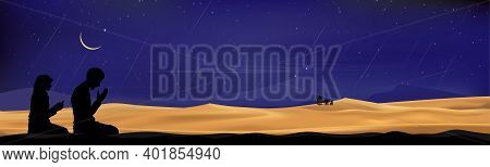 Silhouette Muslim Man And Woman Making A Supplication (salah)sitting On Desert Sand,arab Family And