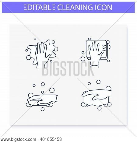 Surface Wiping Line Icons Set. Housekeeper Hand In Glove Collection. Wet Cleaning With Sponge, Soap