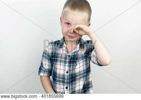 An Ophthalmologist Examines A Boy Who Complains Of Burning And Pain In His Eyes. Eye Fatigue From A