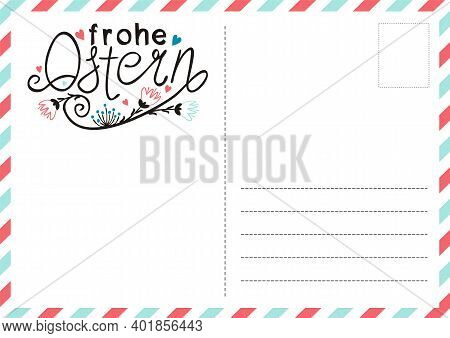 German Happy Easter Postcard With Flowers And Hearts. Cute Greeting Card. Hand Drawn Airmail Envelop