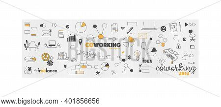 Vector Doodles Office Co-work Concept. Coworking And Collaborative Workspace And Freelance. Hand Dra