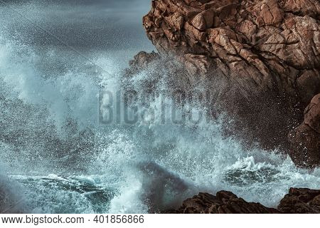 Picture Of The Stormy Sea At The Rocky Coast Of Brittany, Fance