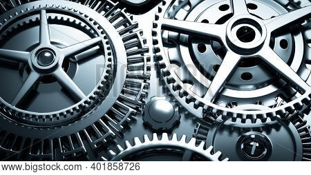 Clockwork mechanism. Gears and cogs rotating. Close-up 3D illustration