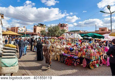 Marrakesh, Morocco - January 21, 2019: Street Market In Marrakesh, Morocco, January 21, 2019