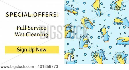 Surface Wiping Web Banner. Spesialoffers.full Service.sign Up Now.housekeeping And Surface Disinfect